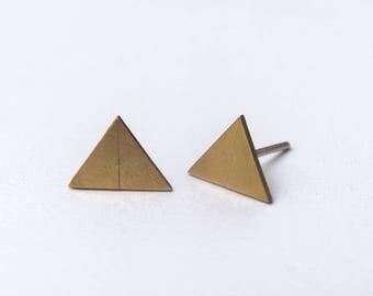 minimal bronze earrings - geometric earrings - triangle earrings