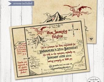 Hobbit Map Birthday Invitation Printable  / DIGITAL Smaug, Tolkien Inspired Party Invitation
