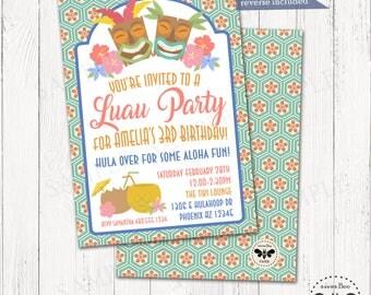 Luau Birthday Tiki Invitation Printable, Tiki Beach Party Invitation, Digital Summer Birthday Invite, Teen Beach Party, Pool Party