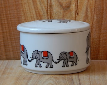 Vintage Bavaria Collectible Porcelain Candy Bowl, Circus Elephants Decor Sugar Bowl Made in Germany
