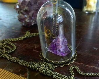 Amethyst Crystal in Glass Dome Vial- brass style necklace.