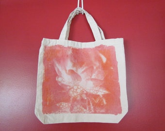 Lotus Flower OOAK Solar Printed Tote Bag-Handmade, One At A Time, With The Light Of The Sun