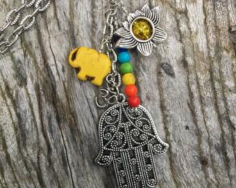 Colorful Hamsa Hand, Yoga, Om, Meditation Car Charm, Rearview Mirror Charm, Mirror Charm, Car Accessory