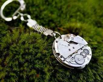 Round Steampunk Watch Key Chain, Watch Movement Keyring, Steampunk silver Keychain clock movement,Clockwork keyring,Christmas gift