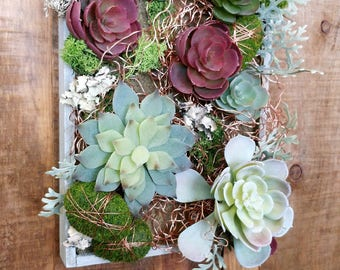 Rustic Wood Box With Faux Succulents And Copper Accents