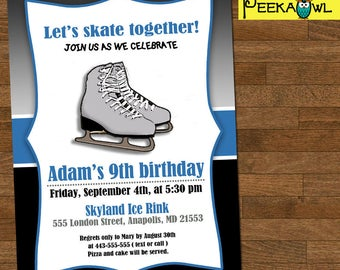 Printable Boys Ice Skate Birthday Invitation - Boys Birthday Invites - Ice Skating Birthday Invitation card - Free Ice Skate thank you card!