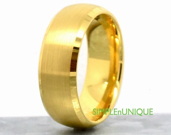 Mens Wedding Band, Tungsten Ring, Tungsten Wedding Ring, Wedding Band Gold Mens, Tungsten Promise Ring Dome and Beveled Gold Plated Tungsten