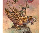 """Keeping A Watchful Eye-11""""x14"""" FANTASY, Lowbrow Signed Titled Fine Art PRINT of Elf and Saber Tooth Tiger by Fian Arroyo-Unframed"""