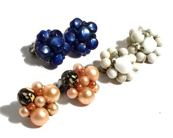 Vintage Lot of Clip Earrings Pearl Crystal and Beaded Cluster Earrings Set of Three