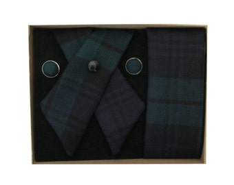 Pure Wool Black Watch Tartan Crossover Tie, Cufflink, & Pocket Square Boxed Set