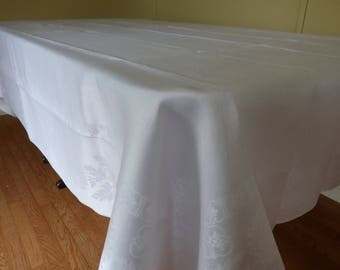 "Vintage White Irish Linen Banquet Tablecloth, Large 70"" x 106"",  Silky Lovely Damask Linen, Excellent!"