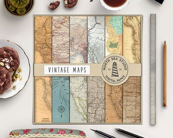 AROUND THE WORLD, Vintage Maps Digital Paper, Old Maps Backgrounds, Maps Patterns, Antique Paper, Instant Download, Coupon Code: BUY5FOR8