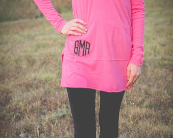Monogrammed Tunic | Bridesmaids Gift | Hooded Tunic | Lightweight Tunic | Monogram Hoodie | Long Sleeved Tunic | Wedding Party Gift