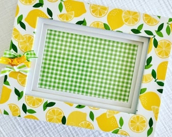4x6 Picture Frame with yellow lemons - green accents