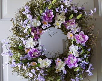 Moss Wreath, Unique One of a Kind  Purple Flowers Woodland wreath Ready to Ship