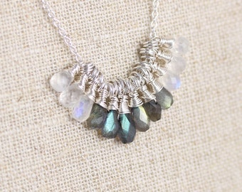 Rainbow Moonstone, Labradorite & Sterling Silver Necklace. Bib, Statement, Cluster Necklace. Wire Wrapped Gemstone Jewelry. Jewellery