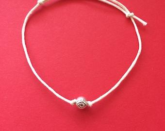 Evil Eye Bracelet, Protection Bracelet, Silver Eye Bracelet, White Bracelet, White Evil Eye Bracelet