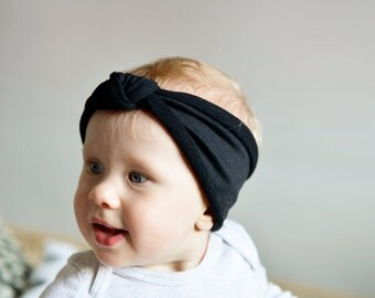 Black Headband, Black Baby Knot headband, Knotted headband, toddler headwrap