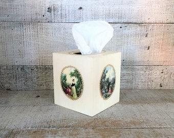 Tissue Box Cover Wood Tissue Box Holder Victorian Tissue Box Cover Handmade Kleenex Box Holder Antique Bathroom Decor Cottage Chic