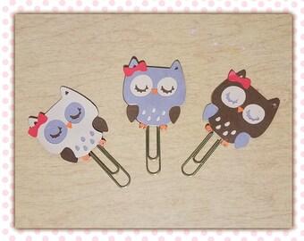 Natur-Owls Tan, Grey, & Brown Paperclip Planner Clip