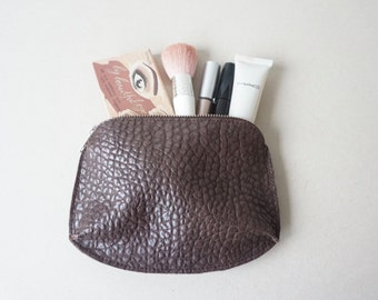 Brown Textured Calf Leather Cosmetic Bag / Leather Makeup Case / Zipper Pouch