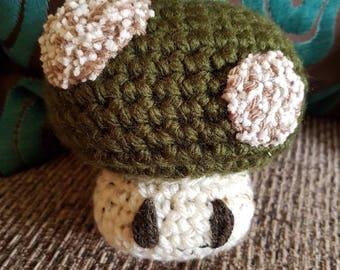 Rustic Nintendo 1up inspired crochet plush