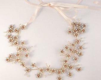 Flower hair vine, floral hair vine, headpiece, hair vine, bridal hair vine, bridal headpiece, headband, bridal headband, flowers headband