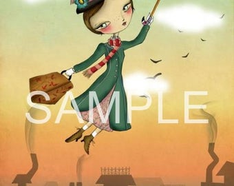 Fabric Art Quilt Block - Mary Poppins - 17-042 FREE SHIPPING