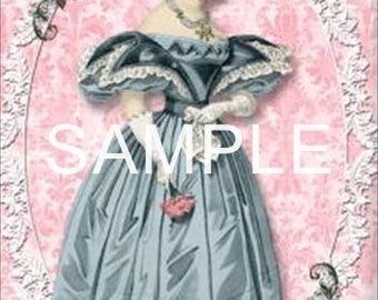 Fabric Art Quilt Blocks - Discount Set of 5 *Regency Gowns & Roses* - FREE SHIPPING