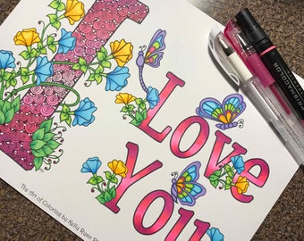 I Love You-Coloring page from an Original drawing