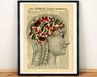 Human Head Brain Anatomy Science Vintage Printable Collage Old Newspaper A3 Wall Art Print 11x16 Home Decor - DIGITAL DOWNLOAD HQ300dpi