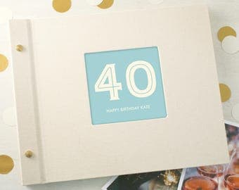 Personalised Typographic 40th Birthday Photo Album