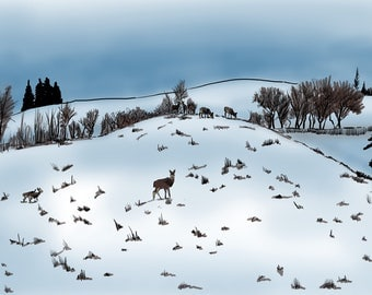 Deer Snow Greeting Card