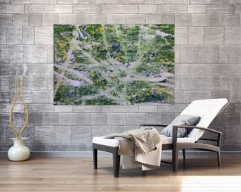 XXL abstract painting 100x150cm modern acrylic art on canvas and frame #321