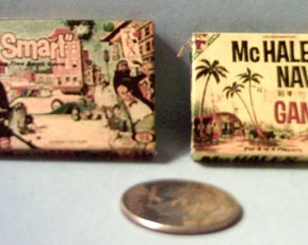 Dollhouse Miniature Vintage Board Games Set #4