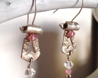 Silver Dangle Earrings, Swarovski Crystal Drop Earrings, Handmade earrings, Hand Forged earrings, Silver and Pink Crystal Earrings