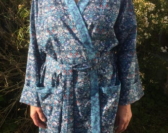 Liberty Print Cotton Women's Robe-William Morris Strawberry Thief in Blue