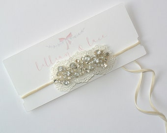 The Helena - Lace, Velvet and Rhinestone Headband. Tie Back, Baby, Girls, Womens, Special Occasion. Lace, Pearl, Rhinestone. Vintage Glam.