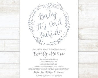 Baby It's Cold Outside Silver Baby Shower Invitation, Wreath Winter Baby Shower Invitation, White Silver Glitter Winter Shower Printable