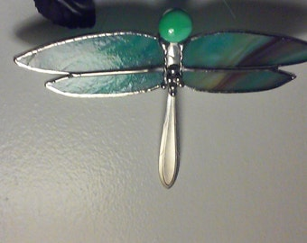 Stained Glass Fireflies with vintage silverware