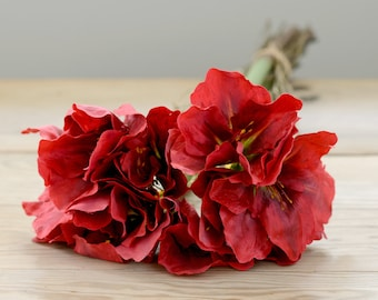 X3 Artificial Red Amaryllis Flowers Arrangement  | Red Silk Faux Amaryllis Bouquet | Wedding Or Home Artificial Flowers