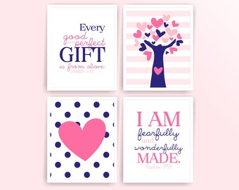 Printable DIY Nursery Art Prints, Pink, Royal blue, Heart, Tree, Every good and perfect gift..., Set of 4 8x10 JPG (other )