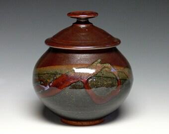 Memorial Urn, Covered Jar, Hand Thrown Urn, Pottery Urn, Ceramic Pet Urn, Lidded Jar, Stoneware Cremation Urn