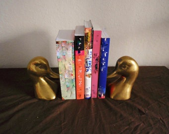 Brass Duck Bookends, Vintage Book Ends, Solid Brass, Antique  Home Decor, Mallard, Man Cave