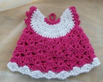 Crochet Potholder, crochet dress potholder, handmade crochet,  100% cotton yarn, kitchen decor, gifts for her, potholder in pink