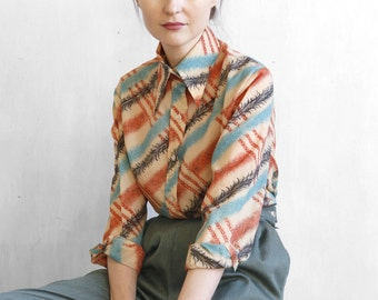 60s 70s poly shirt / mod shirt with stripes effect