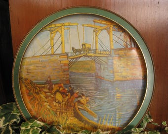 Vintage Sunshine Co. Tray with Vincent Van Gogh scene