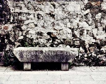 Rustic art, bench, home decor, Europe, Rustic decor, Bench Photo, wall display, stone, architectural photo, neutral decor, European photo