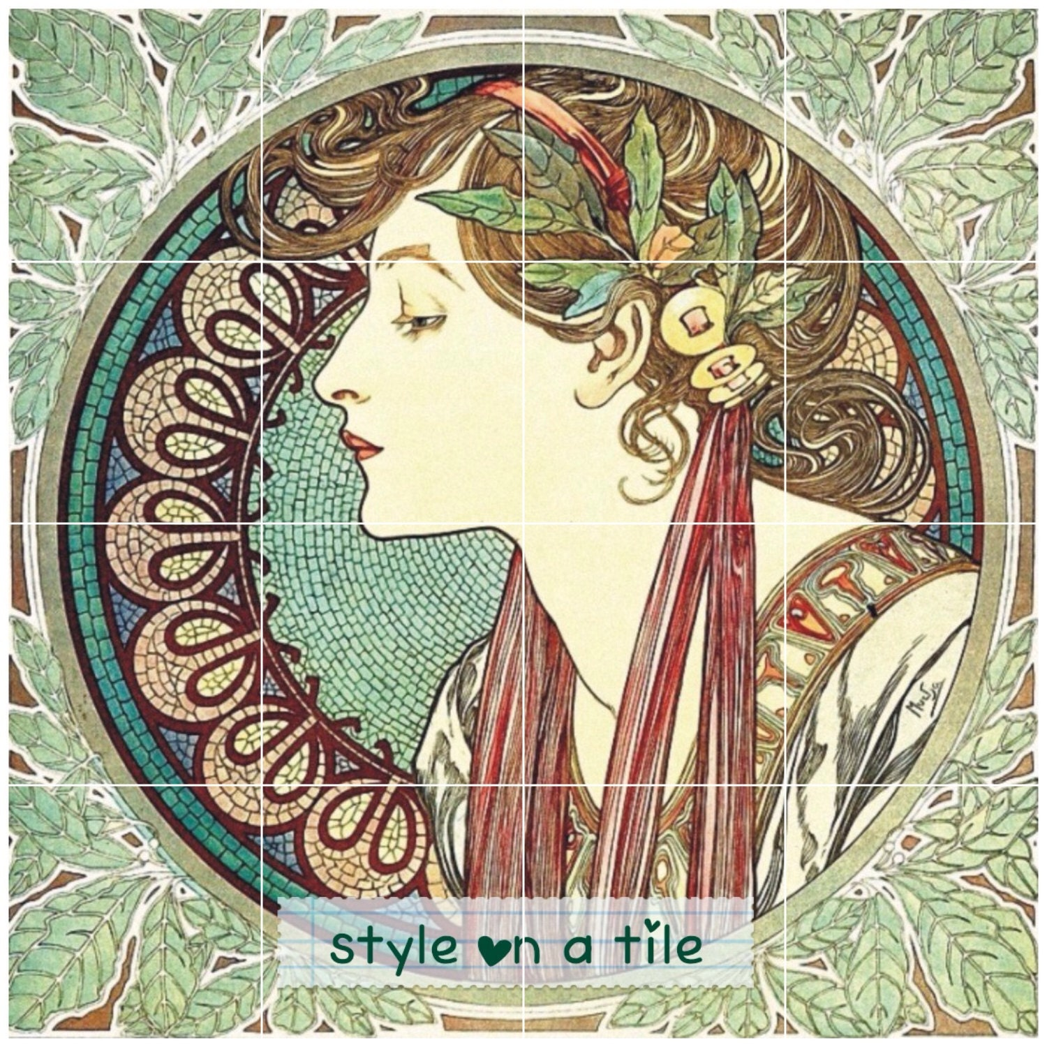 Art nouveau alphonse mucha laurel lady 432mm x 432mm 17 x for Art nouveau tile mural