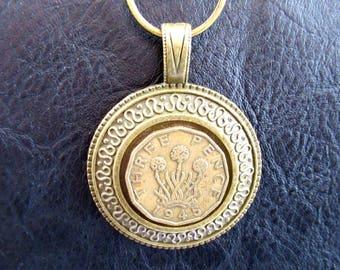 Handmade Outlander Vintage 1945 Threepenny Coin Keychain/Handbag Charm